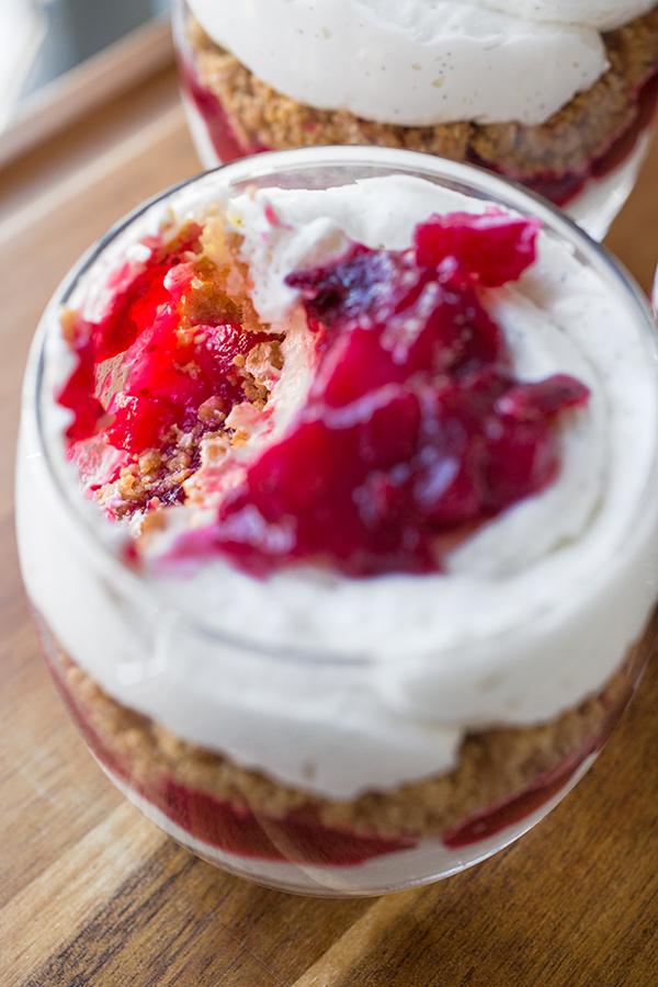 "Cranberry and Vanilla Bean ""Cheesecake"" Parfaits   thecozyapron.com"