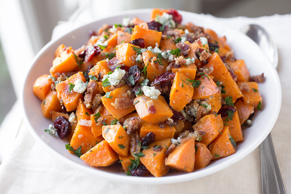 Warm Roasted Sweet Potato Salad with Apple-Smoked bacon