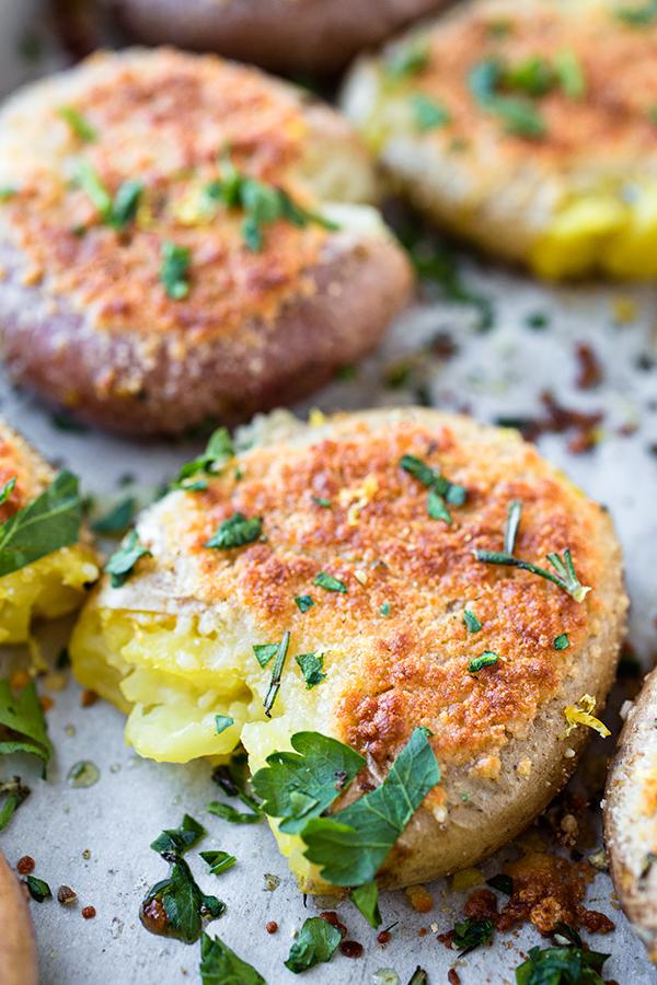 Crispy-Roasted Smashed Parmesan Potatoes   thecozyapron.com