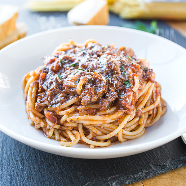 Spaghetti in Rich Braised Beef and Porcini Mushroom Ragù