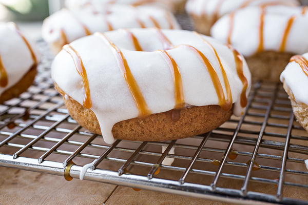 """""""Bananas Foster"""" Baked Donuts with Buttered Rum Glaze, and the Unexpected Gift of Challenge post image"""