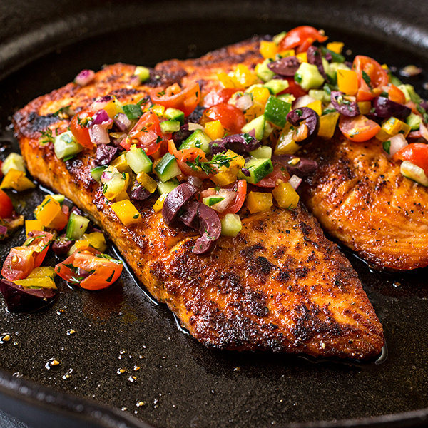 Pan Seared Salmon With Mediterranean Salsa Fresca