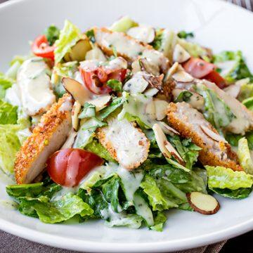 Honey Mustard Chicken Chopped Salad | thecozyapron.com