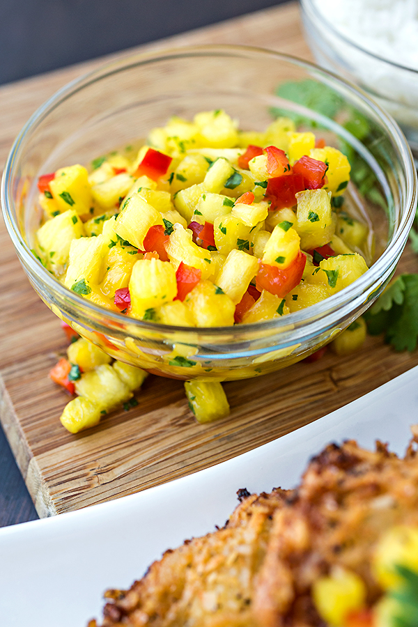 Fresh Pineapple Salsa For Coconut Chicken | thecozyapron.com