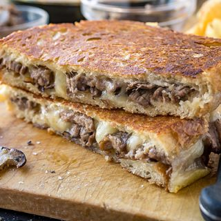 Steak and Mushroom Grilled Cheese, the Gooey and the Crisp Together in One Bite