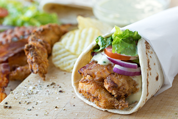 Crispy Chicken Strips Flatbread Wrap