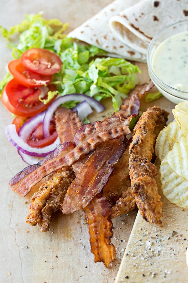 Crispy Chicken Strips Flatbread Wrap | thecozyapron.com