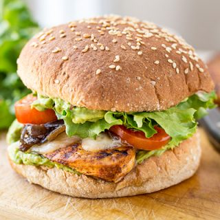 Spicy Guacamole Chicken Burger | thecozyapron.com