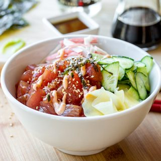 Poke Bowl with Spicy Ahi Tuna | thecozyapron.com