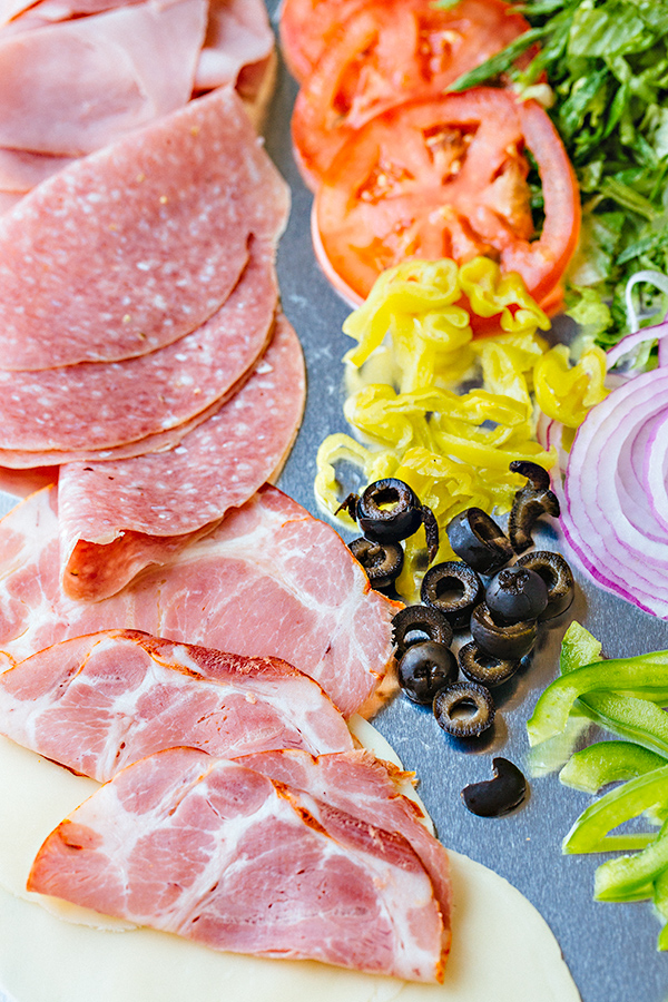 Ingredients for Italian Sub with Red Wine Vinaigrette | thecozyapron.com