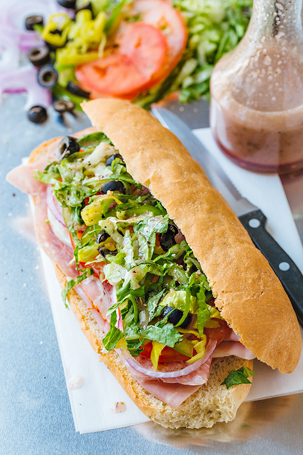Italian Sub with Red Wine Vinaigrette | thecozyapron.com