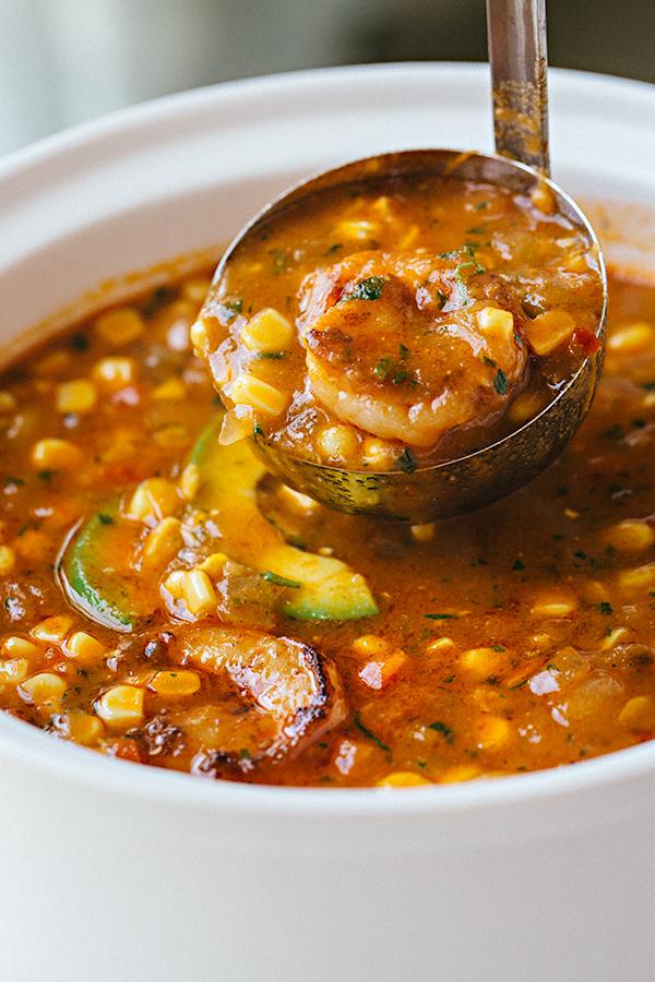 Ladle of Shrimp and Corn Soup | thecozyapron.com