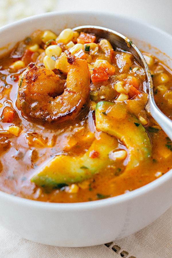 Shrimp and Corn Soup with Avocado | thecozyapron.com