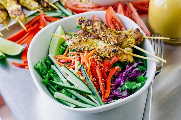 Thai chicken satay salad with sweet peanut dressing thai chicken satay salad thecozyapron forumfinder Images