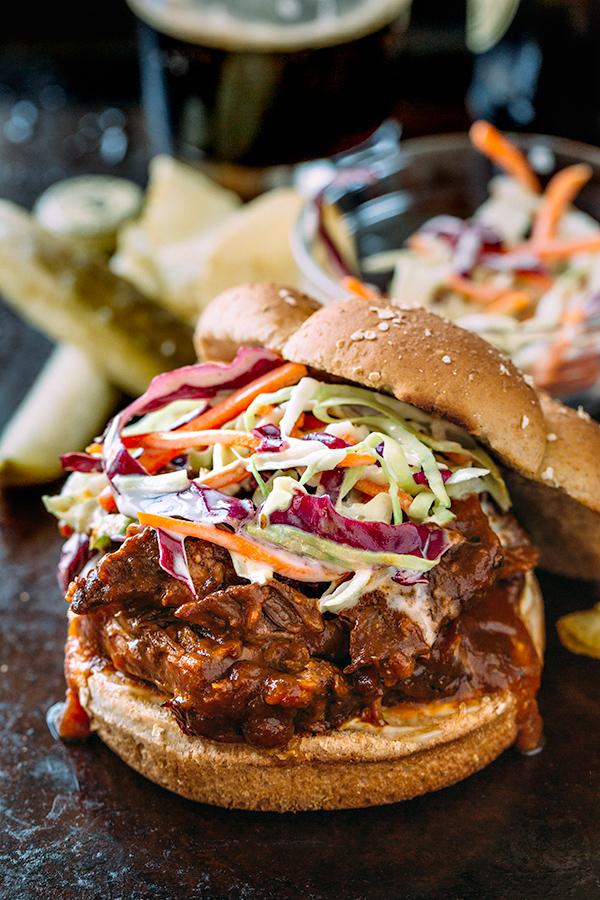 Braised BBQ Short Rib Sandwich with Creamy Coleslaw | thecozyapron.com