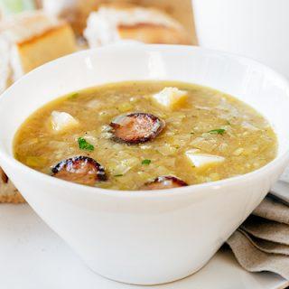 Potato Leek Soup with Smoked Sausage | thecozyapron.com