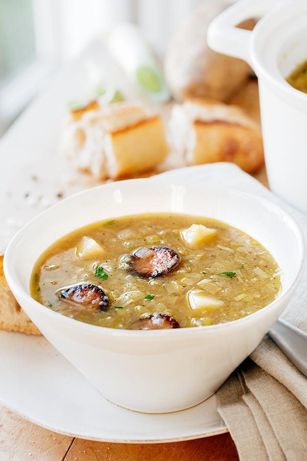 Potato Leek Soup with Smoked Sausage   thecozyapron.com