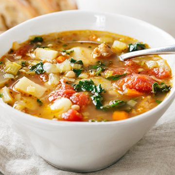 Italian Vegetable Soup with Spicy Sausage | thecozyapron.com