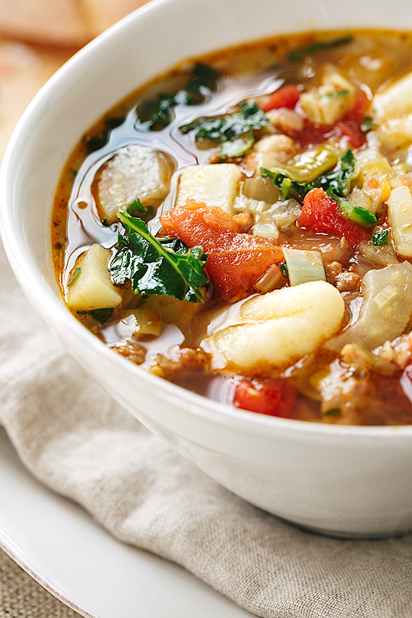 Italian Vegetable Soup with Spicy Italian Sausage and Gnocchi | thecozyapron.com