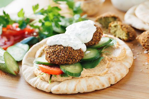Falafel Wrap with Spicy Hummus, and Seeking out Those Flavors That Elevate and Warm Instead