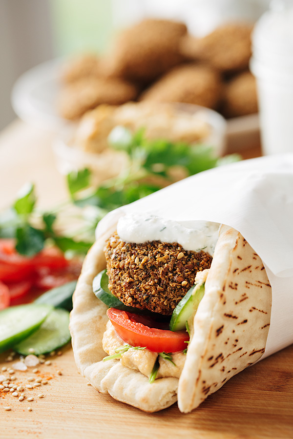 Falafel Wraps with Spicy Hummus | thecozyapron.com