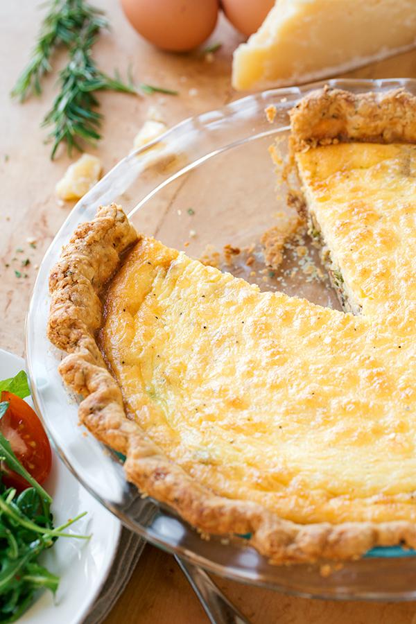 Asparagus Quiche in Pie Dish | thecozyapron.com