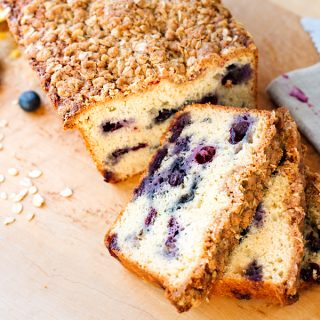 Lemony Blueberry Muffin Bread with Oat Streusel Topping