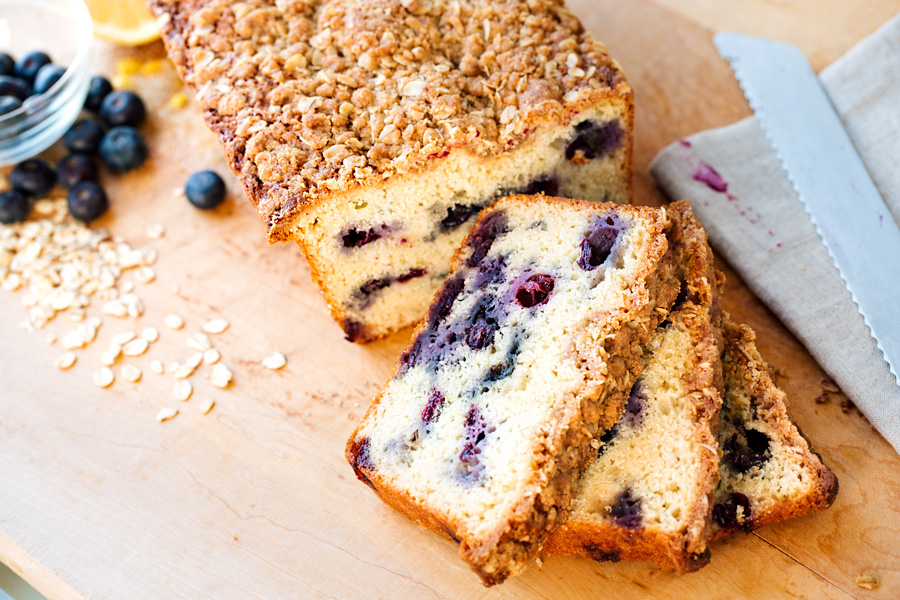 Blueberry Bread with Oat Streusel Topping