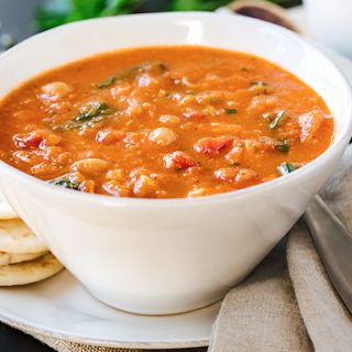 Spiced Chickpea Soup with Chicken, Spinach and Tomatoes