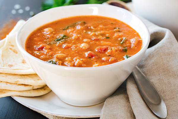 Spiced Chickpea Soup with Chicken | thecozyapron.com