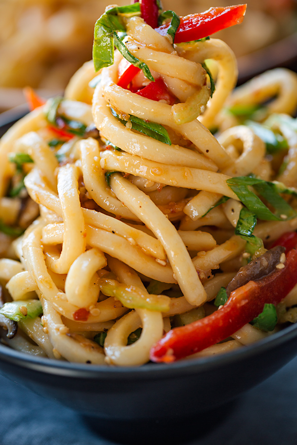 Chilled Garlic Sesame Udon Noodles with Vegetables - The Cozy Apron