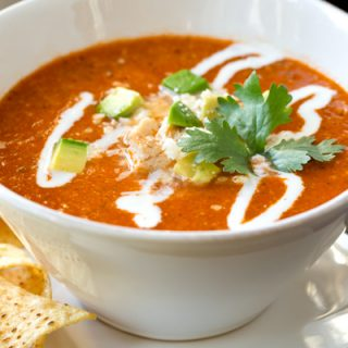 Chicken Tortilla Soup with with Roasted Red Peppers and Avocado