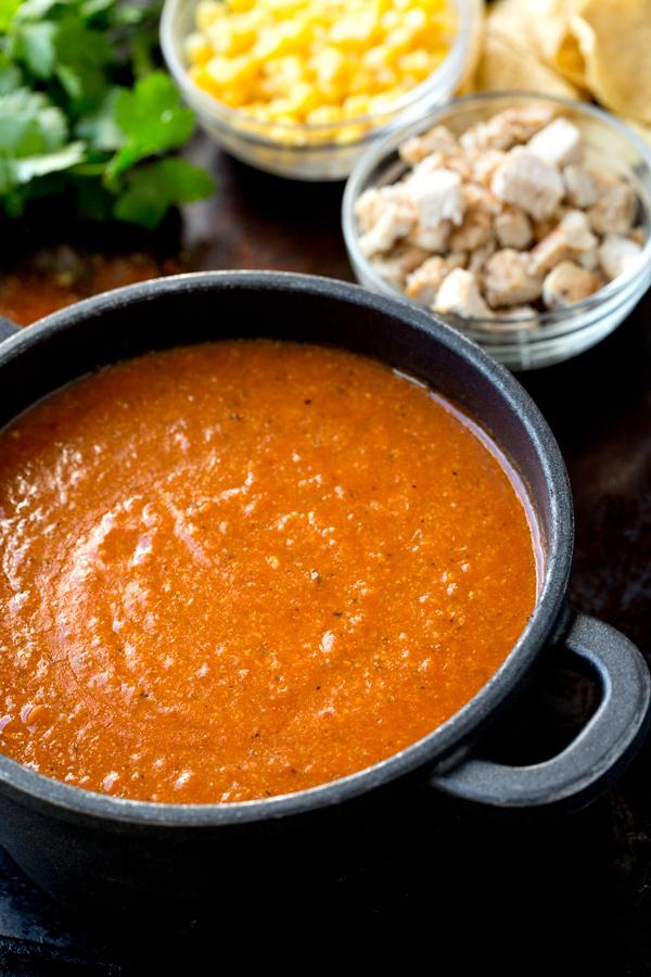 Creamy Chicken Tortilla Soup in a Soup Pot | thecozyapron.com
