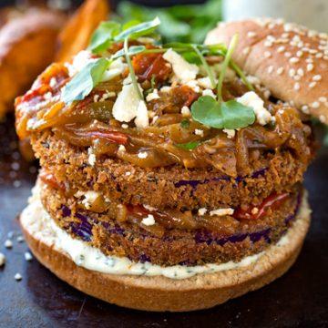 Crispy Eggplant Burger with Caramelized Onions & Tomato Jam | thecozyapron.com