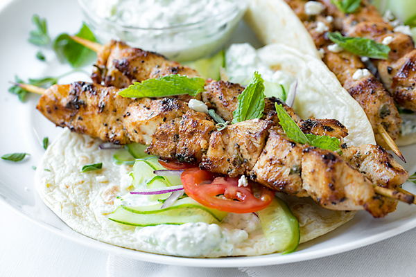 Chicken Kebab Wraps With Easy Tzatziki Sauce The Cozy Apron