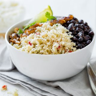 Cauliflower Rice Bowls Southwest Style with Grilled Chicken and Spicy Black Beans