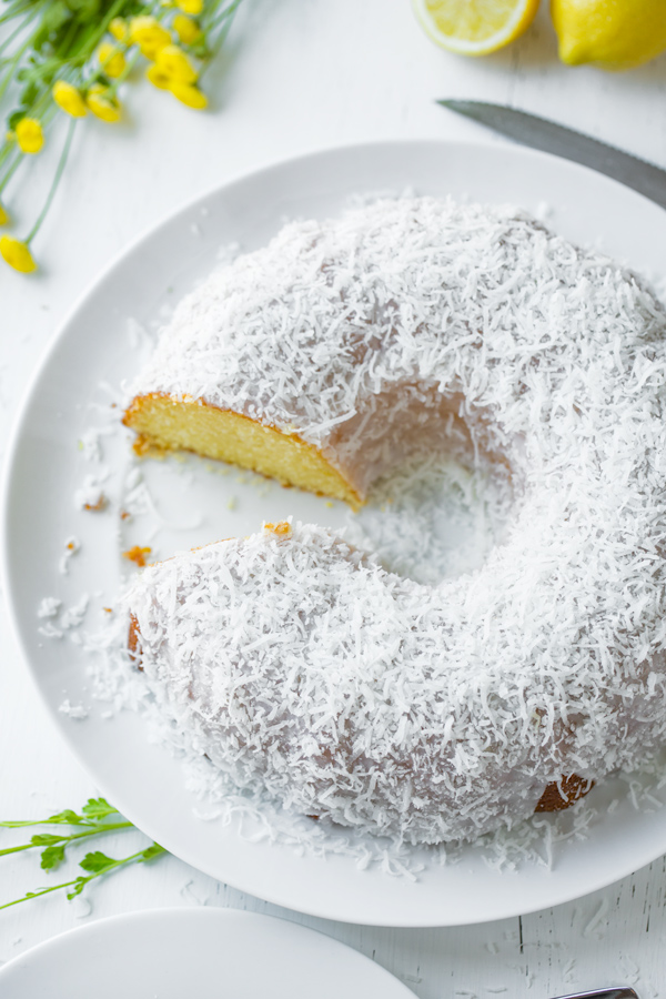 Lemon Bundt Cake with Creamy Coconut Glaze | thecozyapron.com