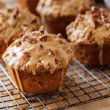 Apple Muffins with Caramel Glaze | thecozyapron.com