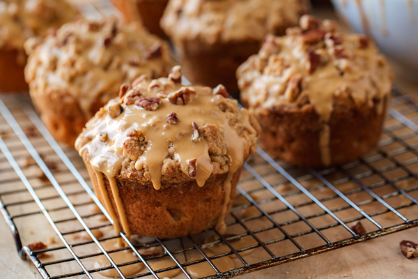 Apple Muffins with Caramel Glaze and Toasted Pecans