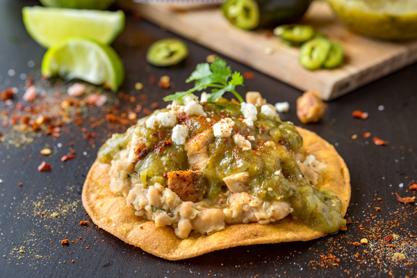 Chicken Tostadas with Charred Tomatillo Salsa and Mashed White Beans