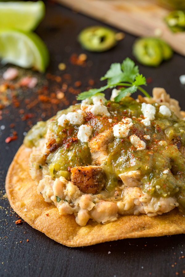 Chicken Tostadas with Charred Tomatillo Salsa | thecozyapron.com