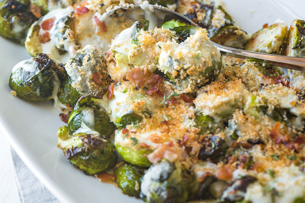Roasted Brussels Sprouts with Creamy Parmesan Sauce
