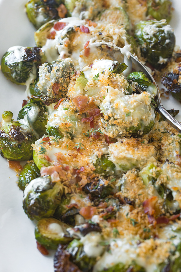Roasted Brussels Sprouts with Parmesan Sauce | thecozyapron.com
