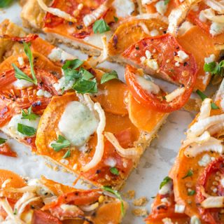 Savory Tomato Tart with Sweet Potatoes, Onions, and Gorgonzola Cheese
