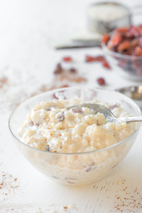 Bowl of creamy rice pudding