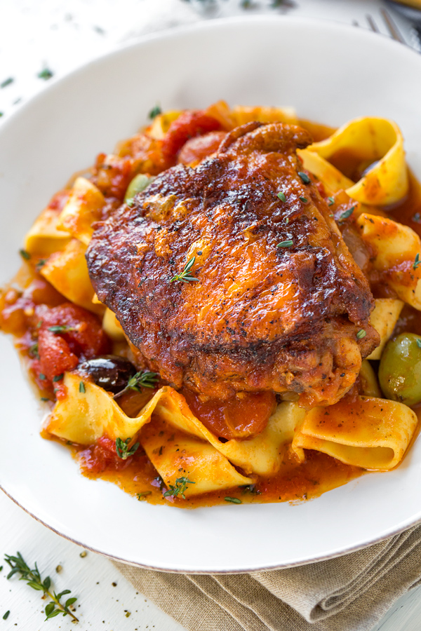 Braised Chicken Thighs on Pappardelle  Noodles