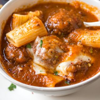 Bowl of Rigatoni Meatball Soup