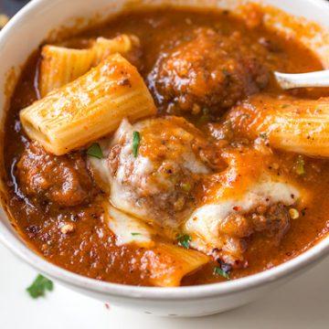 Bowl of Rigatoni Meatball Soup