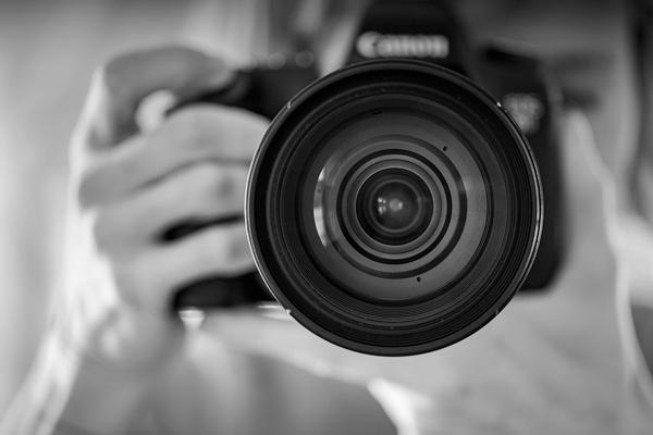 Camera lens in focus