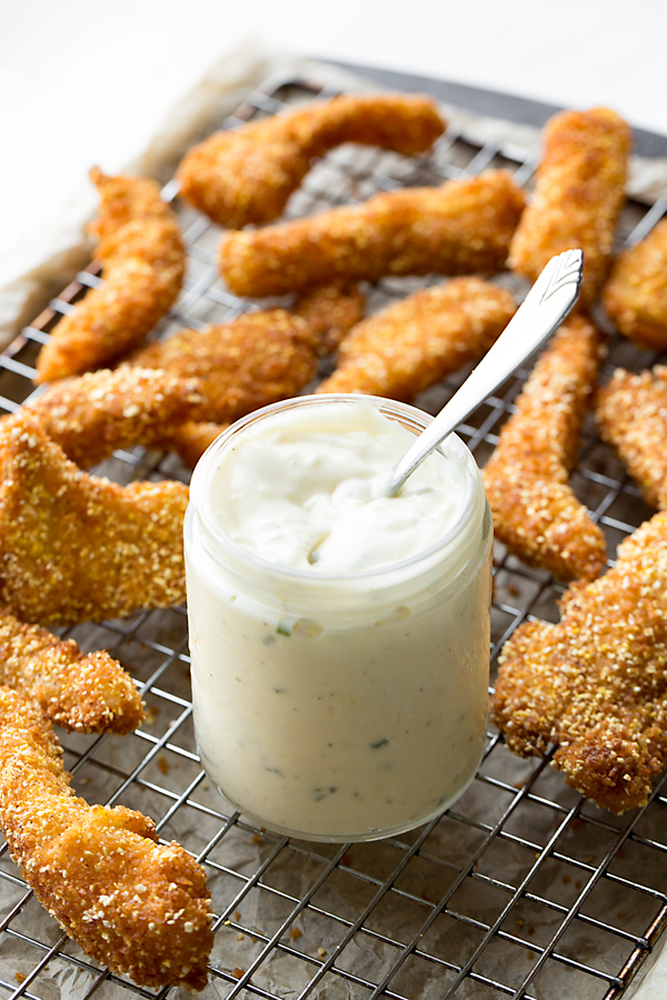 Crunchy Fish Sticks with Lemony Mayo | thecozyapron.com